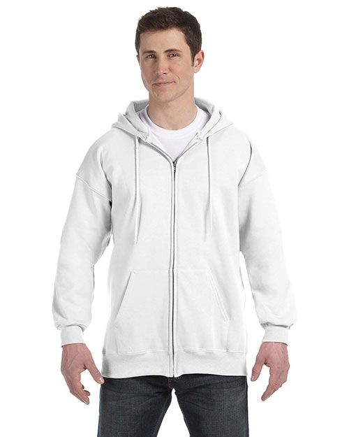 Hanes F280 Men 9.7 oz. Ultimate Cotton 90/10 FullZip Hood White at GotApparel