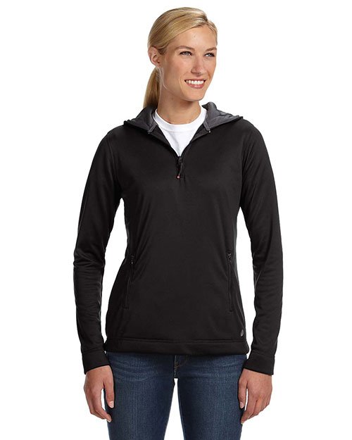 Russell Athletic FS8EFX Women Tech Fleece Quarter-Zip Pullover Hood Black at GotApparel