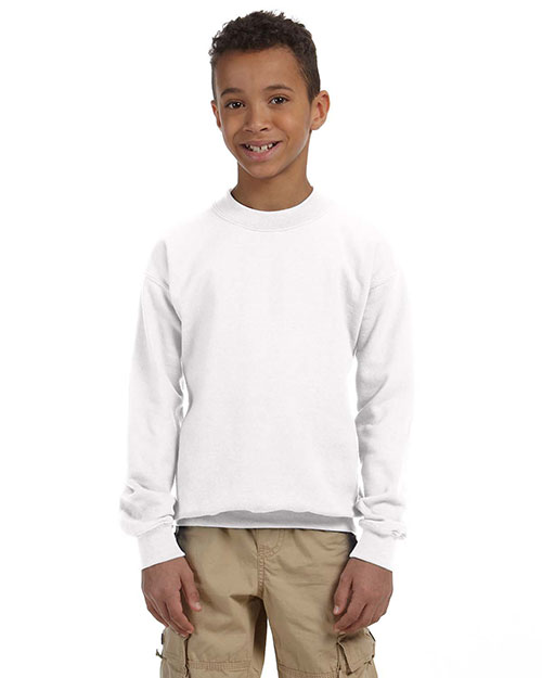 Gildan G180B  Youth 50/50 Midweight Crewneck Sweatshirt WHITE at GotApparel