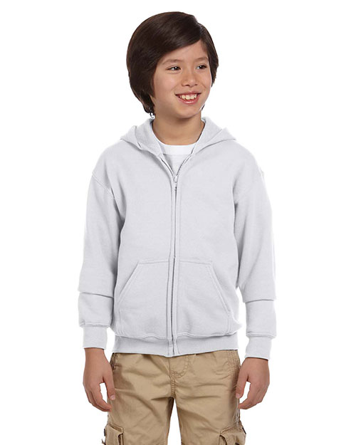 Gildan G186B Boys Heavy Blend 8 oz., 50/50 Full Zip Hood Ash at GotApparel