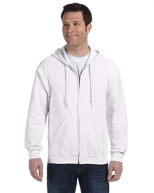 Gildan G186 Men Heavy Blend 8 oz., 50/50 Full Zip Hood White at GotApparel