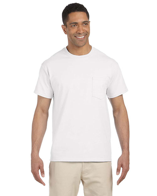 Gildan G230 Men's Ultra Cotton® 6 oz. Pocket T-Shirt White at GotApparel