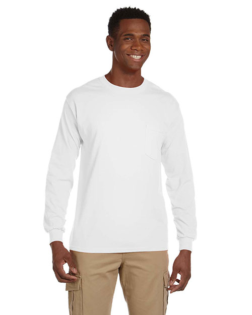 Gildan G241 Men Ultra Cotton 6 oz. LongSleeve Pocket T-Shirt White at GotApparel