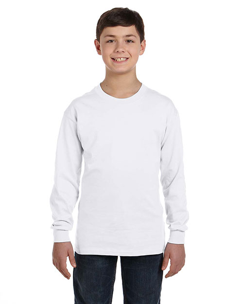 Gildan G540B Boys Heavy Cotton 5.3 oz. Long-Sleeve T-Shirt White at GotApparel