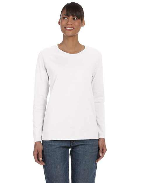 Gildan G540L Women Heavy Cotton 5.3 oz. Missy Fit Long-Sleeve T-Shirt White at GotApparel