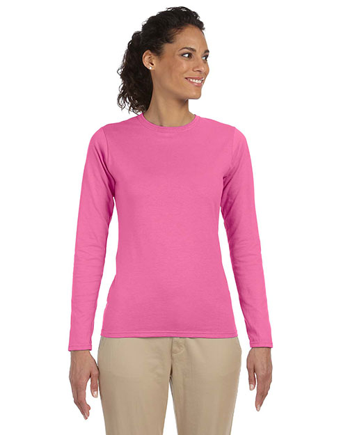 Gildan G644L Women Softstyle 4.5 oz. Fit Long Sleeve T-Shirt Azalea at GotApparel
