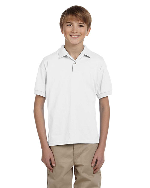 Gildan G880B Boys DryBlend 5.6 oz., 50/50 Jersey Polo White at GotApparel