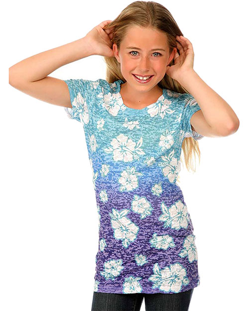 Big Girls 7-16 Burn Out Tropical Flower Sublimation Crew Neck Short Sleeve at GotApparel