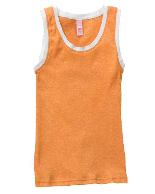 Hyp Sportswear HY125  Ladies Chattanooga 2x1 Rib Tank SHERBET HEATHER/WHITE at GotApparel