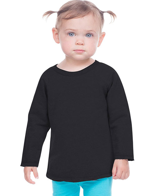 Infants French Terry Crew Neck Raw Edge Raglan Long Sleeve at GotApparel