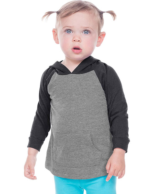 infants Jersey Contrast Raglan Long Sleeve Hooded Top w. Pouch at GotApparel