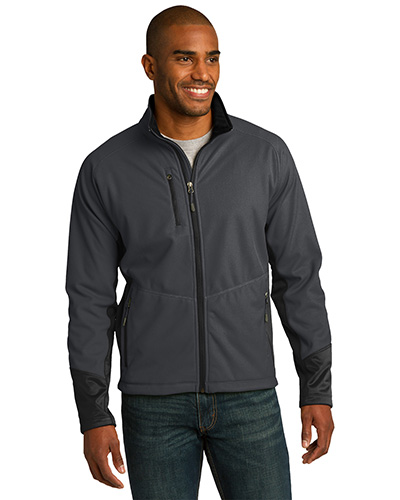 Port Authority J319 Men Vertical Soft Shell Jacket Mag Grey/Black at GotApparel