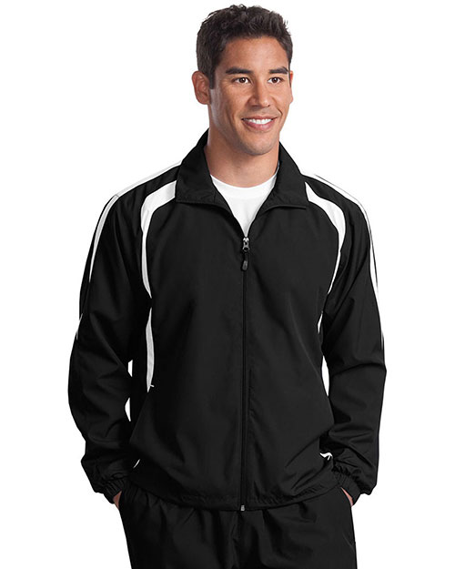 Sport-Tek TJST60 Men Tall Colorblock Raglan Jacket Black/White at GotApparel