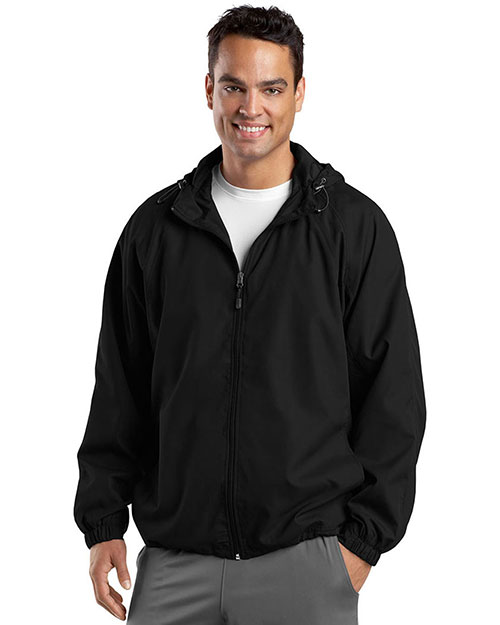 Sport-Tek JST73 Men Hooded Raglan Jacket Black at GotApparel