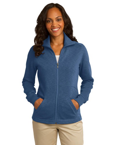 Port Authority L293 Women Slub Fleece FullZip Jacket Twilight Blue at GotApparel