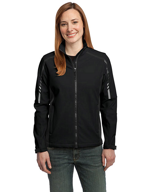 Port Authority L307 Women Embark Soft Shell Jacket Black/Deep Grey at GotApparel