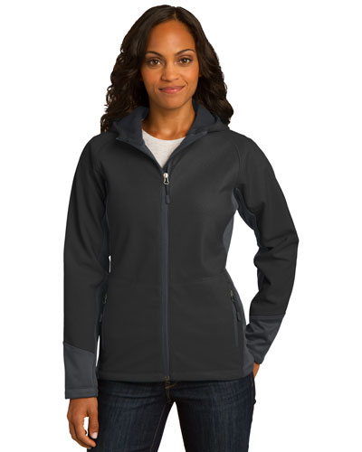 Port Authority L319 Women Vertical Hooded Soft Shell Jacket Black/Mag Grey at GotApparel