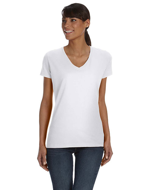 Fruit of the Loom L39VR Women 5 oz., 100% Heavy Cotton HD VNeck TShirt White at GotApparel