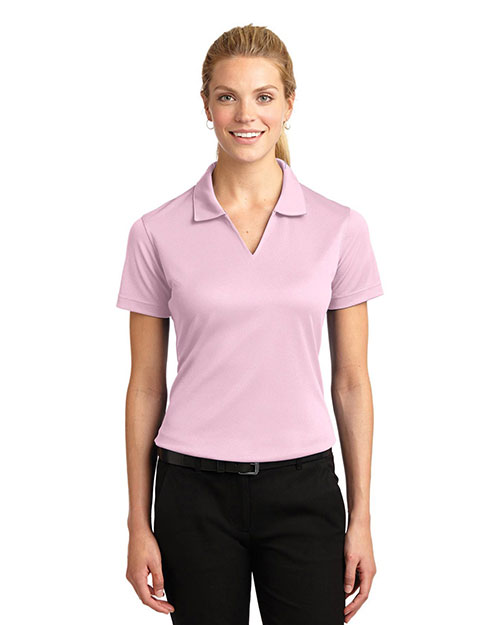 Sport-Tek L469 Women DriMesh   VNeck Polo Pink at GotApparel