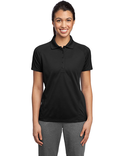 Sport-Tek L474 Women DriMesh   Pro Polo Black at GotApparel