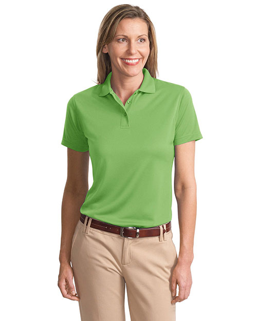 Port Authority L497 Women PolyBamboo Charcoal Blend Pique Polo Vibrant Green at GotApparel