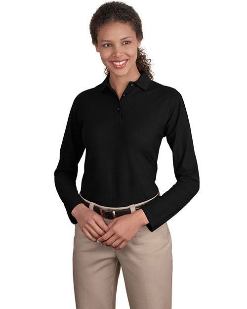 Port Authority L500LS Women Long Sleeve Silk Touch™ Polo Black at GotApparel