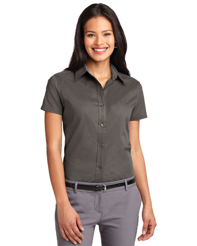 Port Authority L508 Women Short Sleeve Easy Care  Shirt Bark at GotApparel