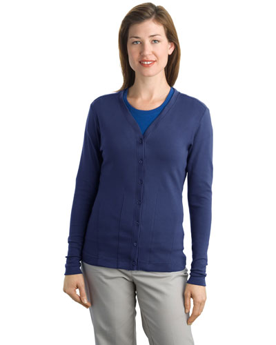Port Authority L515 Women Modern Stretch Cotton Cardigan Sapphire Blue at GotApparel