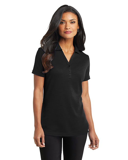 Port Authority L520 Women Silk Touch™ Interlock Polo Black at GotApparel