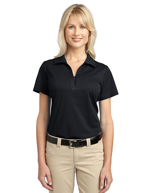 Port Authority L527 Women Tech Pique Polo Black at GotApparel