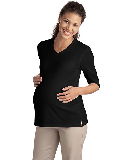 Port Authority L561M Women Silk Touch™ Maternity 3/4Sleeve VNeck Shirt Black at GotApparel