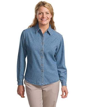 Port Authority L600D  Ladies Long Sleeve Denim Shirt Faded Denim at GotApparel