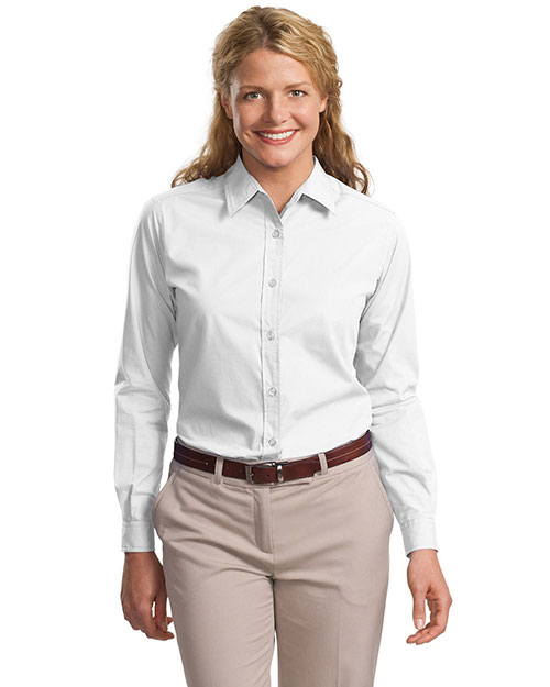 Port Authority L607  Ladies Long Sleeve Easy Care, Soil Resistant Shirt White at GotApparel