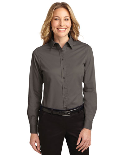Port Authority L608 Women Long Sleeve Easy Care Shirt Bark at GotApparel