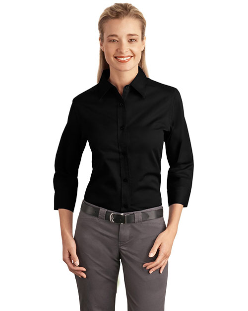 Port Authority L612 NEW  Ladies 3/4-Sleeve Easy Care Shirt Black at GotApparel
