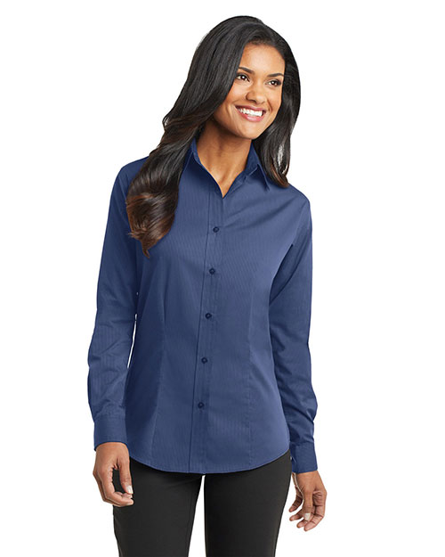 Port Authority L613    - Ladies Tonal Pattern Easy Care Shirt.  Blue at GotApparel