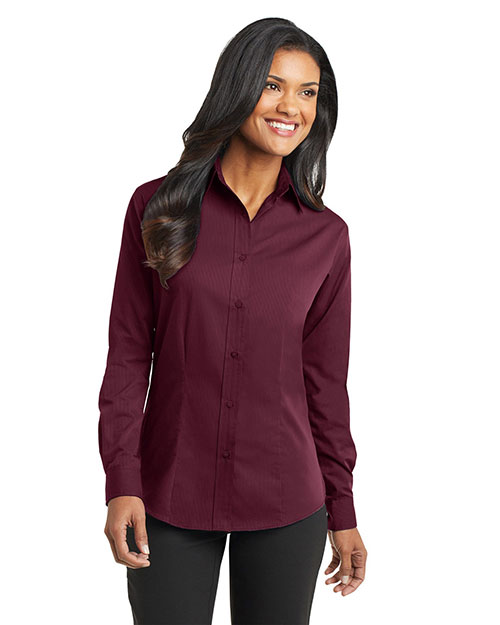 Port Authority L613 Women Tonal Pattern Easy Care Shirt Maroon at GotApparel