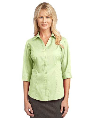 Port Authority L6290 Women IMPROVED      3/4Sleeve Blouse Light Green at GotApparel