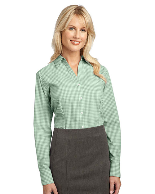 Port Authority L639 Women Plaid Pattern Easy Care Shirt Green at GotApparel