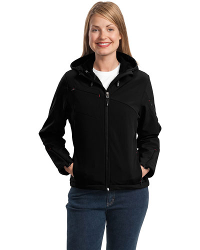 Port Authority L706 Women Textured Hooded Soft Shell Jacket Black/Engine Red at GotApparel