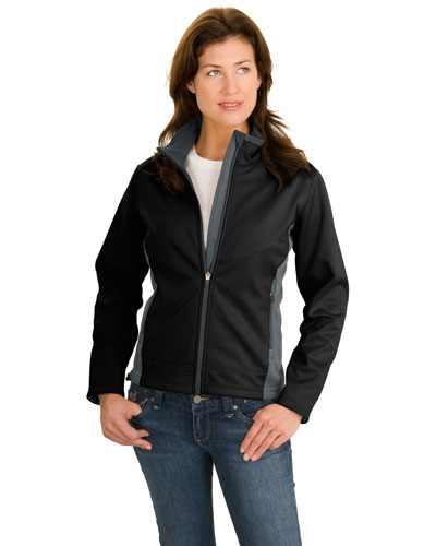 Port Authority L794 Women TwoTone Soft Shell Jacket Black/Graphite at GotApparel