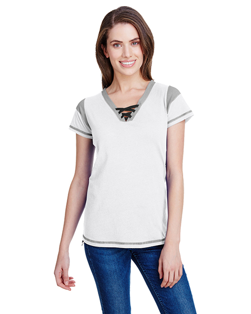 LAT LA3533 Ladies Gameday Lace Up T-Shirt at GotApparel