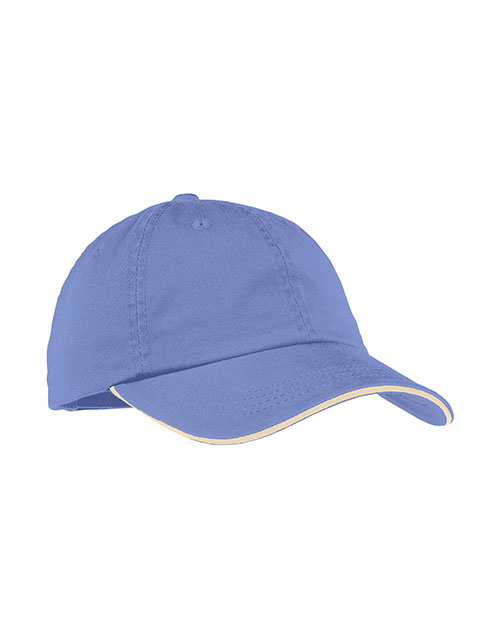 Port Authority LC830 Women Sandwich Bill Cap with Striped Closure Blue Iris/Stone at GotApparel