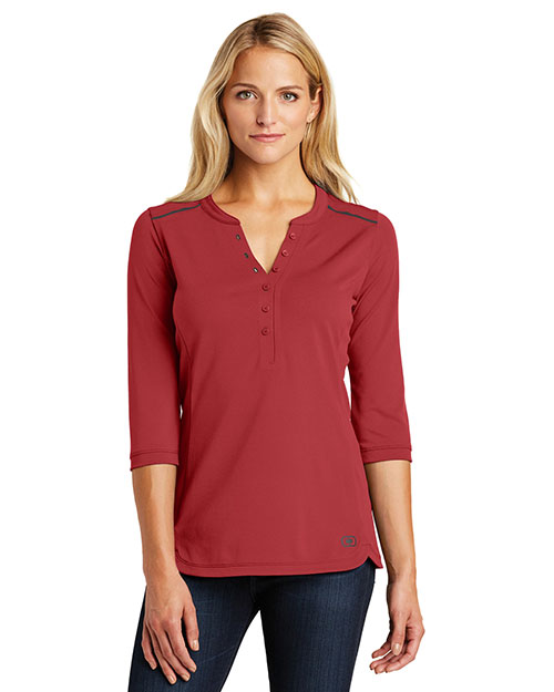 Custom Embroidered OGIO LOG132 Ladies 5.9 oz Fuse Henley at GotApparel