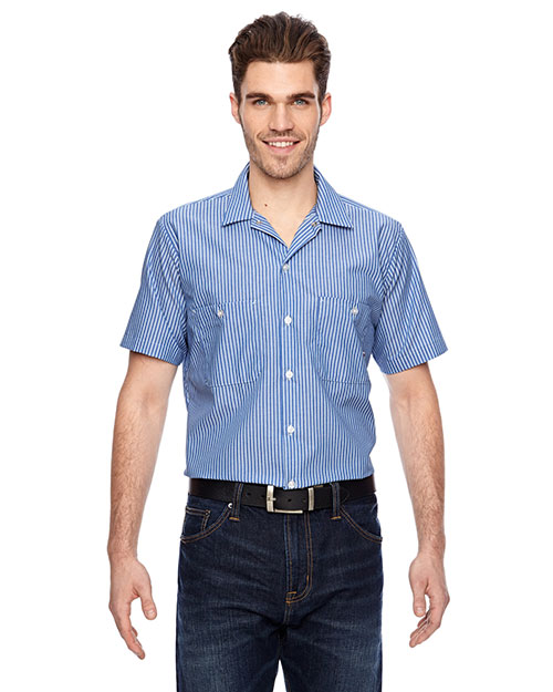 Dickies LS535 Men's 4.25 oz. Industrial Short-Sleeve Work Shirt Blue/Wht Stripe at GotApparel