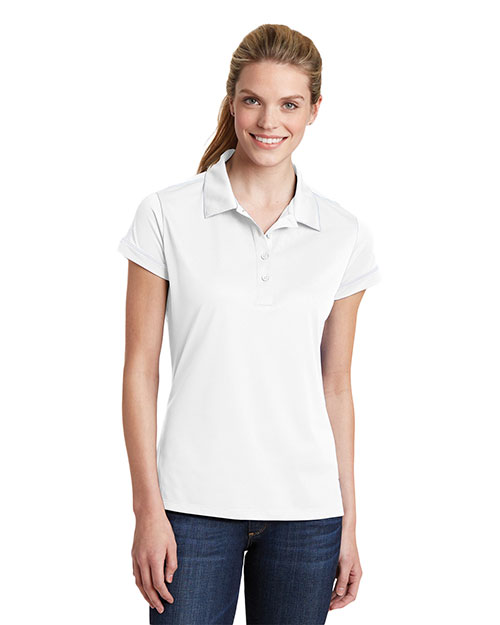 Sport-Tek LST659 Women Contrast Stitch Micropique SportWick Polo White at GotApparel
