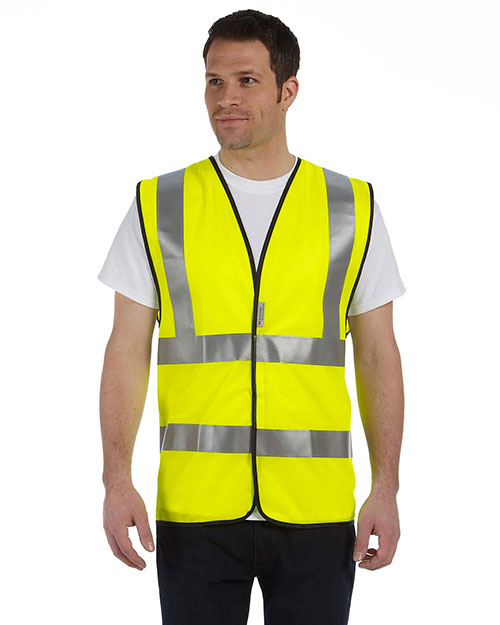 OccuNomix LUXSSF Men Premium Solid Dual Stripe Vest, Class 2 Safety Yellow at GotApparel