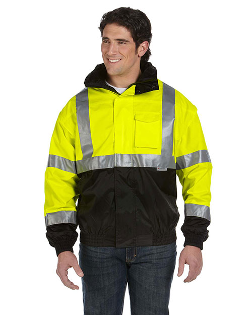 OccuNomix LUXTJB Men's Four-Way Black Bottom Bomber Jacket, Class 3 Safety Yellow at GotApparel
