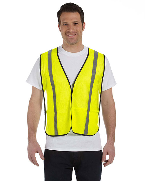 OccuNomix LUXXSB Men's Value Mesh Silver Bead Vest Safety Yellow at GotApparel