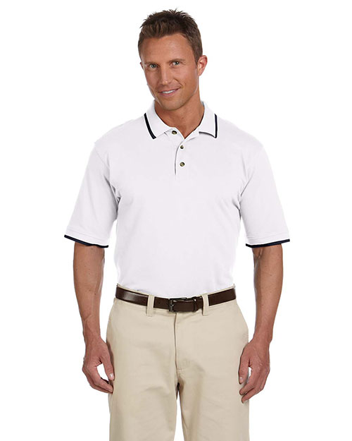 Harriton M210 Men 6 oz. ShortSleeve Pique Polo with Tipping White/Navy at GotApparel